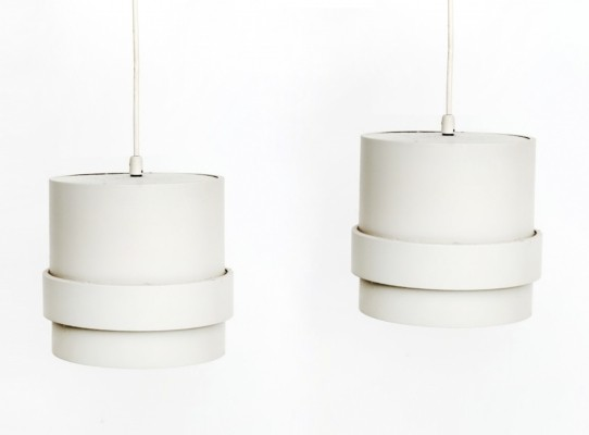 Set of two white design pendants, 1960s