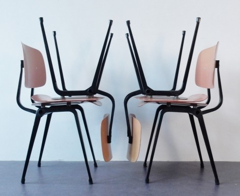 Set of 4 Revolt dining chairs by Friso Kramer for Ahrend de Cirkel, 1950s