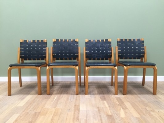 Set of 4 Nr. 612 Y-chair dining chairs by Alvar Aalto for Artek, 1940s