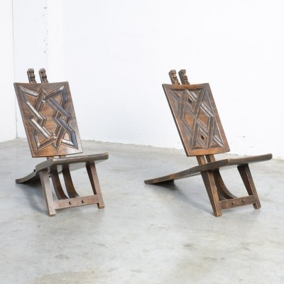 Nice Pair of Geometric African Chief Chairs