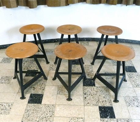 Set of 6 Laminated Wood & Metal Industrial Stools