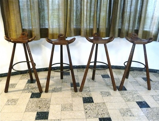 Set of 4 Brutalist 'Marbella' Bar Stools, Spain 1960s