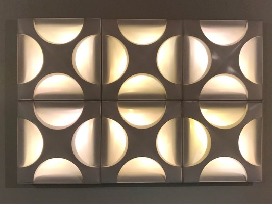 6 x Oyster wall lamp by Rolf Krüger & Dieter Witte for Staff, 1960s