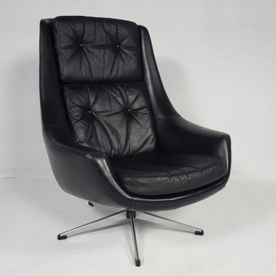 Swivel Leather Lounge Chair by H.W.Klein for Bramin, 1970s