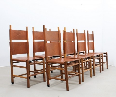 Set of 8 Kentucky dinner chairs by Carlo Scarpa for Bernini, 1970s