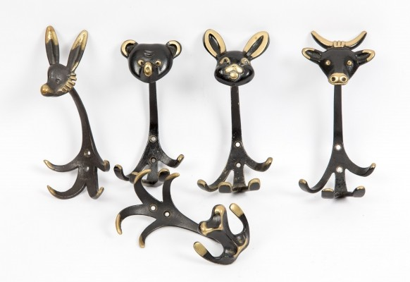 Walter Bosse brass animal coat hooks with gold