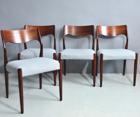 Set of 4 Model 71 dinner chairs by Niels Ole Møller, 1960s