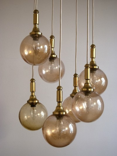 70s Hanging Lamp with brass & golden Glass Balls