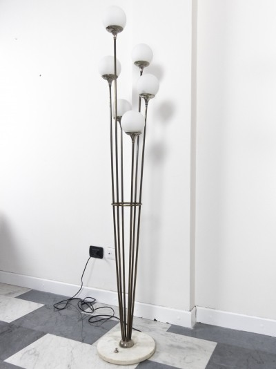 6-lights brass Alberello floor lamp by Stilnovo, 1960s