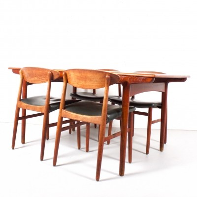Dining set by Ejnar Larsen for Naestved Møbelfabrik, 1950s