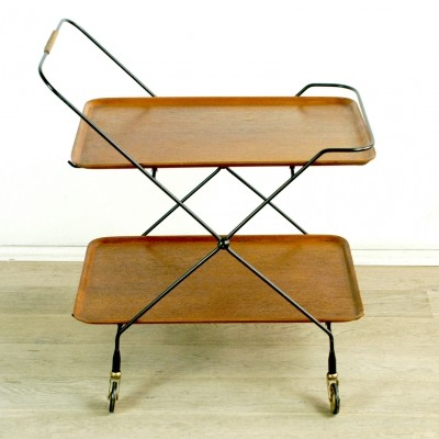Scandinavian Modern Folding Teak Serving Trolley