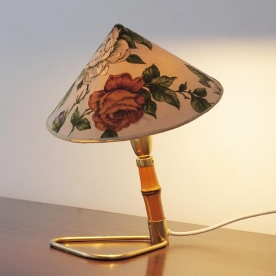 Bamboo brass lamp by Rupert Nikoll with original fabric shade