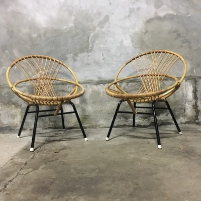 Pair of rattan chairs by Rohe Noordwolde, 1960's