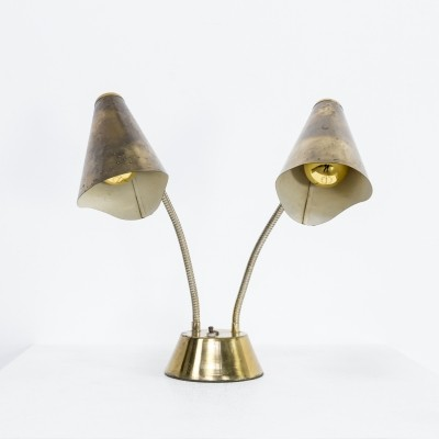 Brass & metal double switch table lamp, 1960s