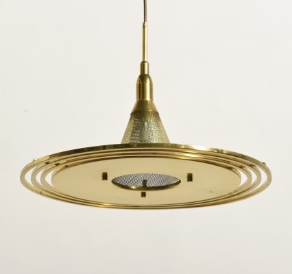 Ring Saturn Mid-Century Modern Perforated Brass Pendant by Lightolier