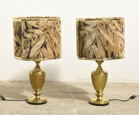Set of Two Brass Hollywood Regency style Table Lamps with Shades of Velvet, 1970s