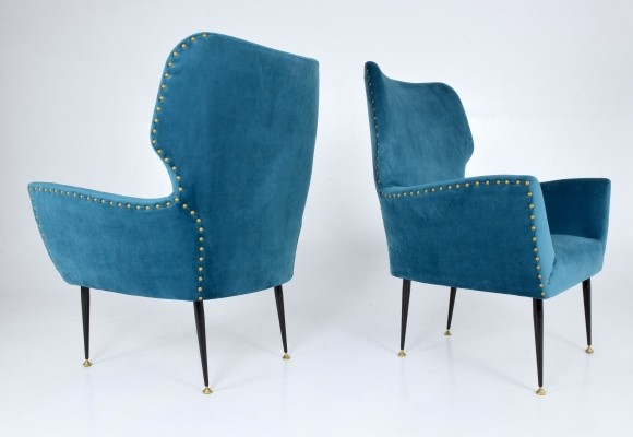 Pair of Italian Curved Armchairs, 1950's
