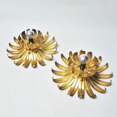 Pair of Sun Flowers wall lamps by Maison Jansen, 1970s