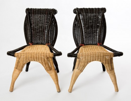 Pair of handmade black rattan Helena chairs by Borek Sipek for Scarabas