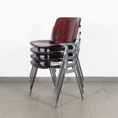 Set of 4 DSC dinner chairs by Giancarlo Piretti for Castelli, 1960s
