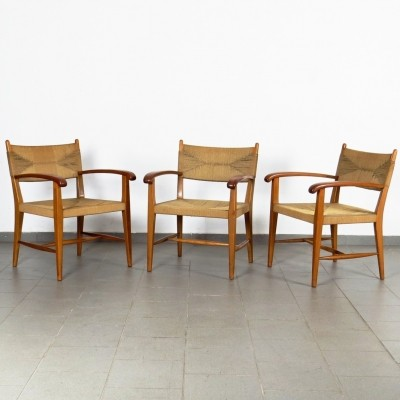 Set of 3 vintage arm chairs, 1960s