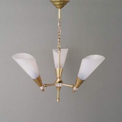 French Brass Hanging Lamp with Adjustable Plastic Shades, 1950s
