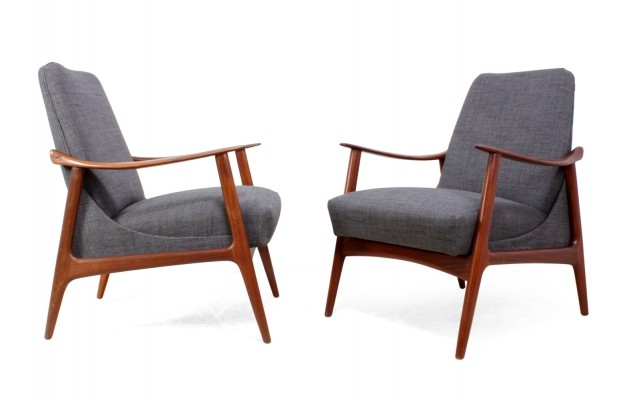 Pair of Mid Century Teak Armchairs - Danish c1960