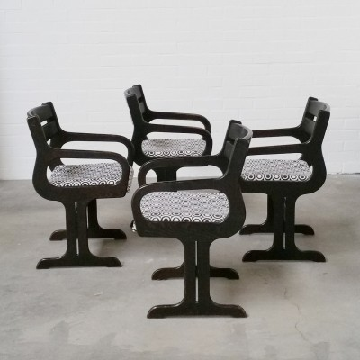 Set of 4 Space Age Wooden Dining Chairs, 1960s