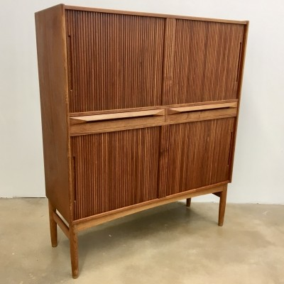 Teak cabinet with tambour doors by Ib Kofod Larsen for Federicia