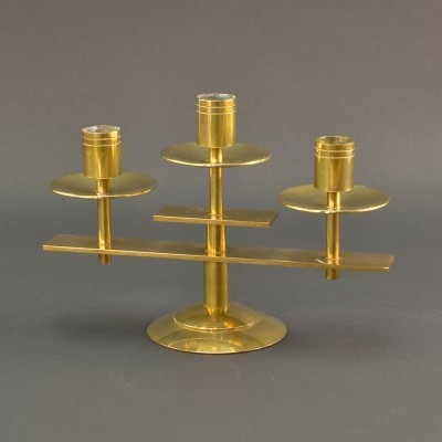 Symmetric Danish Solid Brass Candle Holder by Dan Present, 1960s