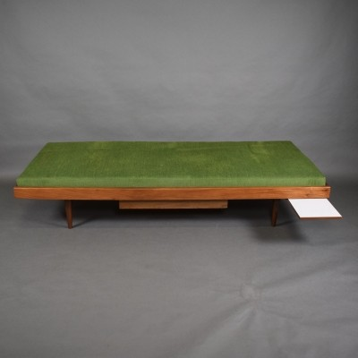 Teak daybed with drawer & extractable coffee table, 1960s