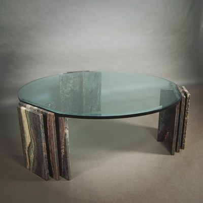 Italian coffee table in marble & glass, 1970s