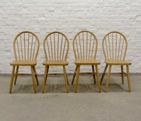 Set of Four Scandinavian Spindle Back Wooden Dining Chairs