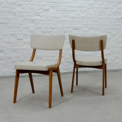 Pair of Beech Wooden & White Leatherette Scandinavian Dining Chairs, 1960s