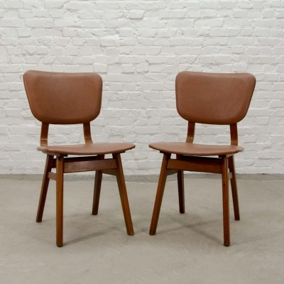 Pair of Dutch Design Teak Wood Dining Chairs, 1960s