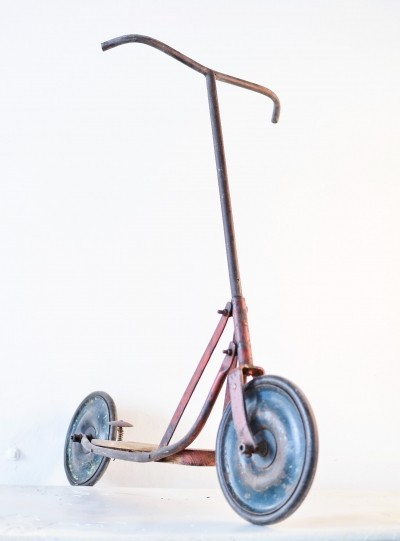 Old vintage scooter made of metal & wood, Czech Republic 1950s