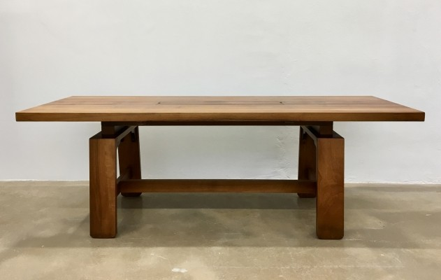 Large Dining Table In Walnut Veneer By Silvio Coppola for Bernini, Italy 1964