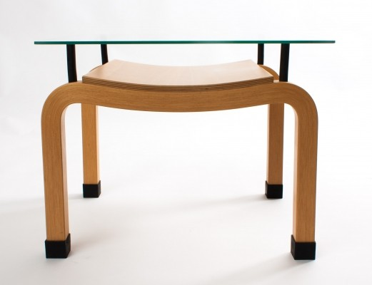 Ruud Jan Kokke bended wood 'Japanese serie' table with floating glass top