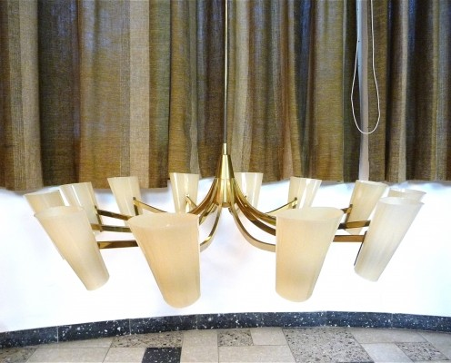 Twelve-Arm Brass Chandelier, 1950s