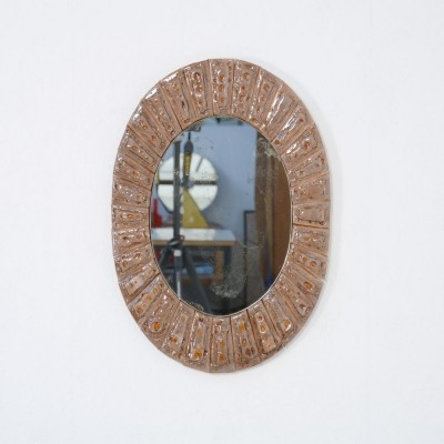 Oval Ceramic Tile Mirror by Guy Trévoux