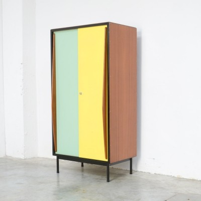 Mint Green & Yellow Wardrobe Cabinet by Willy Van Der Meeren