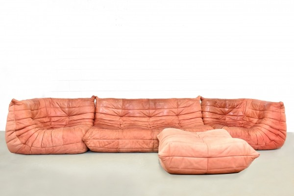 Togo sofa in suede leather by Michel Ducaroy for Ligne Roset, 1980s