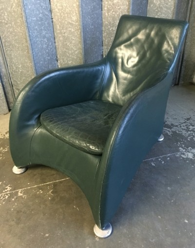 Racing green leather Loge armchair by Gerard van den Berg for Montis, 1990s