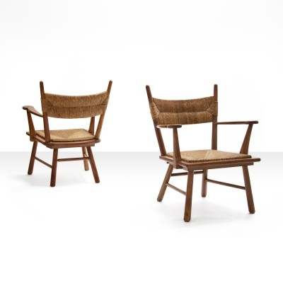 Bas Van Pelt Pair of Armchairs in Solid Oak & Straw, The Netherlands 1940s