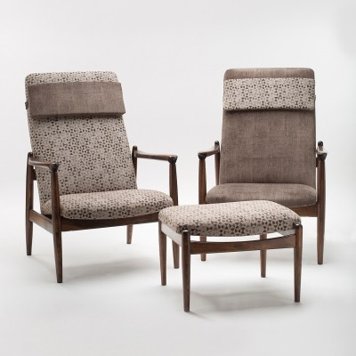 Pair of original GFM-64 armchair with removable headrest & footstool