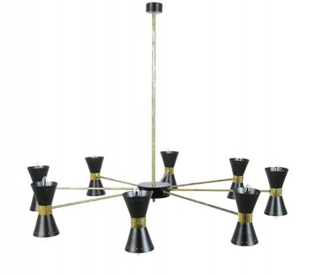 Brass Ceiling Lamp with Sixteen Black Light Scones, 1960s