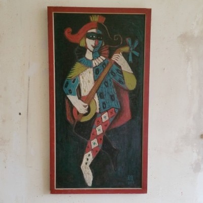 Oil Painting of Harlequin, 1950s