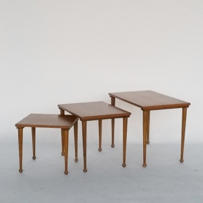 Set of 3 Teak Nesting Tables with Ball Feet, 1960s