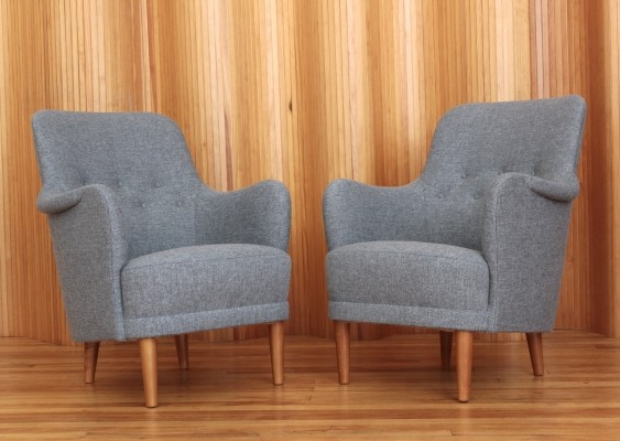 Pair of Samsas lounge chairs by Carl Malmsten for O H Sjögren, 1960s