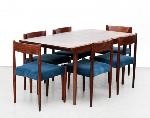 Rosewood dining room set with 6 chairs & extendable dining room table